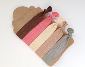 Super Soft No-Snag Elastic Hair Ties --  Keep It Classy Collection -- Nude, Cream, Peach Coral, Chocolate, Silver