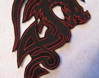 Large Embroidered  Dragon Applique Patch,  Iron On Applique, Dragon Applique, Dragon Patch
