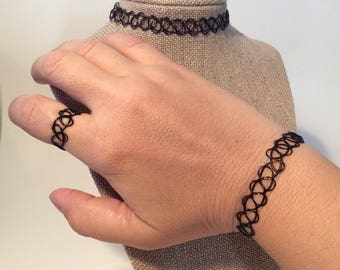 Vintage Black Tattoo Choker Set, Tatoo Choker, Tattoo Bracelet, Tattoo Ring, 90's, Black Choker
