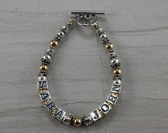 Sterling 14KT Gold Fill 2 Tone Mother's Grandmother's Bracelet Two Names Per Strand