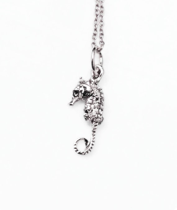 Tiny Solid Sterling Silver Seahorse Necklace