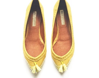 LIMITED EDITION - Yellow and Mustard Leather ballerinas - Pointy ballet flat shoes - Slip ons - Super soft Genuine Suede Leather