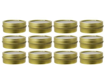 Gold Metal Steel Tin Flat Containers with Tight Sealed Clear Lids - 1 oz (12 pack ) ***FREE SHIPPING***