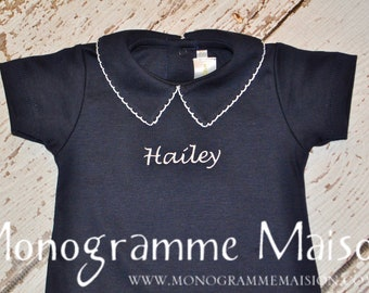 Baby Girl Coming Home Outfit - Baby Gift - Newborn Girl Coming Home Outfit - Girl Outfit - Short Sleeve Collared Romper - Nautical - Pima