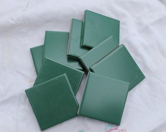 Forest Green Square Hi Fire Tiles for use in Mosaic Art