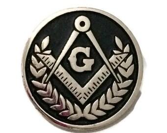 Masonic Square & Compass Round Lapel Pin, freemason square and compass round lapel pin, freemasonry black round lapel pin