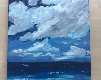 Ocean Painting on Canvas Blue Ocean Acrylic painting.