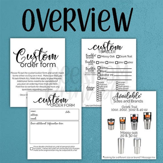 Custom Order Request Tumbler Order Form Tumbler Order Request