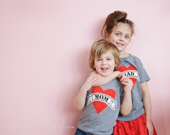 Father's Day Dad shirt kids Sibling Grey Son Daughter Fathers Mom Heart Tattoo lil bro big sis Valentines sibling matching outfit baby men