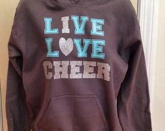 Cheer sweatshirt, live love cheer, cheerleader shirt, cheer hoodie, cheer shirt