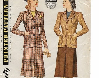 "A Retro Suit Pattern for Women: Inverted Pleat Skirt & Dart-Fitted, Notched Collar Jacket - ca. 1940's Size 18, Bust 36"" • Simplicity 3652"