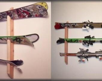 Ski Wall Rack Mount -- Holds 3 sets