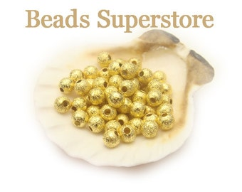 4 mm Gold-Plated Brass Stardust Round Bead - Nickel Free and Lead Free - 50 pcs