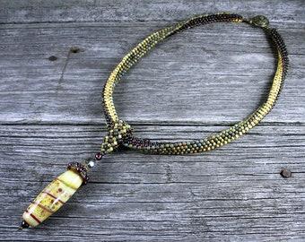 Beadweaving: African Polygon Necklace in Rich Garnet/Earth-Tones with Lampwork Glass & Garnet Pendant