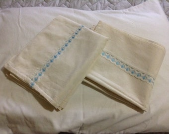 Handmade Pillow Cases with Blue trim