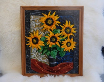Unique Leather Picture Sunflowers In The Vase, Leather Art, Leather Handmade