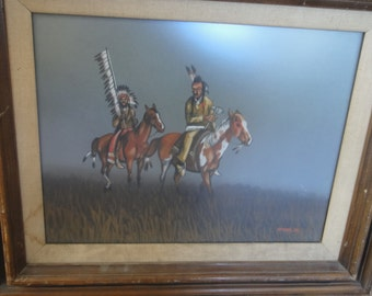 Vintage Native American Painting/ Signed Guynez, Jr.