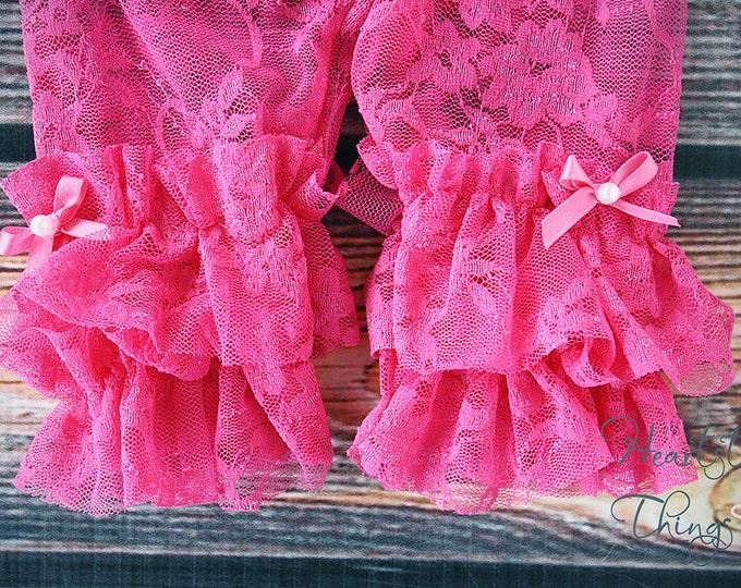 Baby Girl, Hot Pink leggings, Double Ruffle, Lace leggings, Baby Leggings, Newborn Leggings, Lace tights, Ruffle Leggings, Ruffle tights