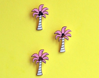 Pastel Pink Palm Tree Hard Enamel Pin Gold Tropical Summer Gifts under 10 Flair