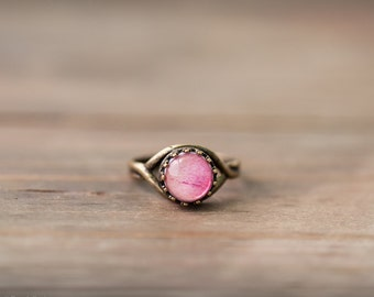 Pink peony ring, Peony jewelry, Mothers day gift, Pink ring, Gift for mom ring, Pink gift bridesmaid ring, Pink Flower ring, Delicate ring