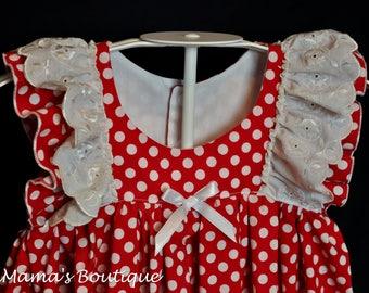 Size 2T Clara Dress/ Red and White polka dot Dress/ Toddler girls dress/ Summer Dress/ Easter Dress/ Baby Girls dress