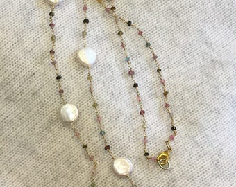 Multi Gemstone Pearl Necklace