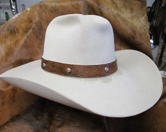 Cowboy Hat Band, SASS Hat Band, Hat Band, Reenactor Hat Band, Cowgirl Hat Band, Hair On Brindle Cowhide Leather Hat Band with Umbrella Spots