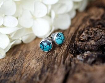 Turquoise Studs, Turquoise Earrings, Rustic Studs, Sterling Earrings, 6mm Studs, Boho Earrings