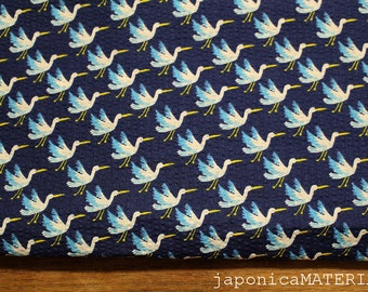 Japanese Ripple Fabric, 1/2 yard, Birds, Navy, 100% cotton