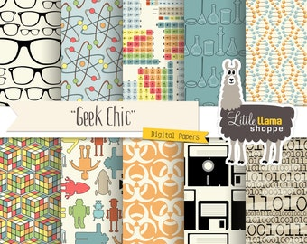 Geek Chic Digital Paper Pack, Nerd Scrapbook Paper, Science Geek Techie Genius, Commercial Use, Instant Download