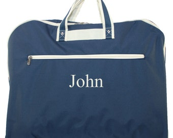 Monogrammed Garment Bag | Boys Garment Bags | Travel Mens Garment Bag | Hanging Suit Bag | Personalized Groomsman Gift | Navy Garment Bag