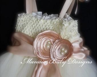 Blush Flower Girl Dress w/ SLIP LINING INCLUDED / Blush and Ivory Vintage Tutu Dress / Ivory Flower Girl Dress / Blush Tutu Dress