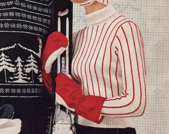 PATTERN 1950s Vintage Ladies Striped Ski Sweater with Cap Turtle Neck Sweater Chin Strap Hat