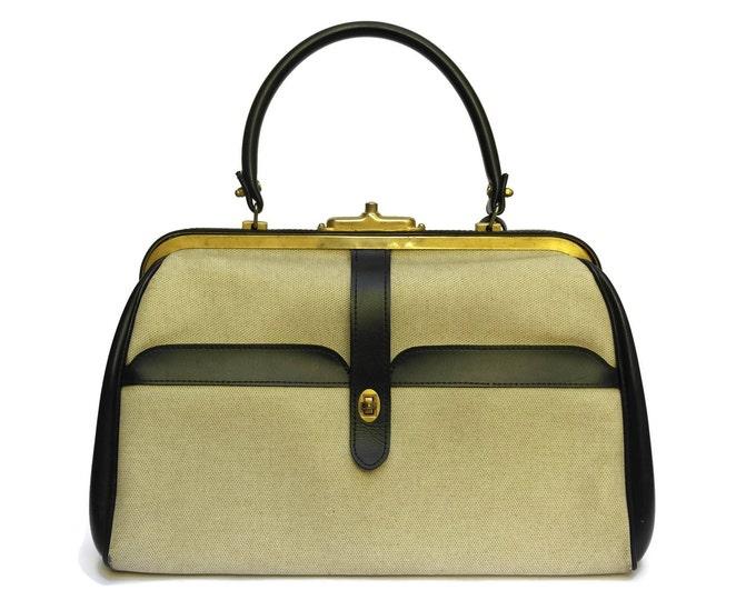 1950's Vintage Two Tone Navy and Beige Purse. Vintage Paris Fashion handbag.