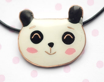 Panda necklace, Valentines day necklace, white black polymer clay pendant, necklace with copper wire, animal jewelry, panda jewelry