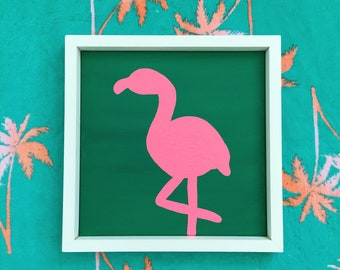 abstract pink flamingo painting original canvas art