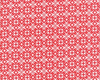 Valentine's Day Red and White Pattern - Love you - Moda Cotton Fabric