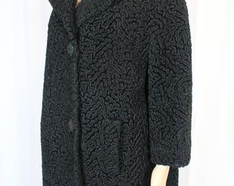 Lustrelam black Persian wool 60s coat