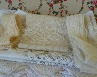 French lace / PROJECT LACE BUNDLE  for reworking /hand worked French lace crochet lace antique lace  white lace cream lace