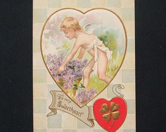 Antique Embossed Shamrock Valentines Day Postcard 'To My Sweetheart'.