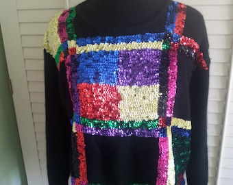 Vintage sequin, vintage 1980's sequin pull over, vintage sweater, 1980's cropped sweater, 1980 jumper, 1980's top, vintage sweater A17