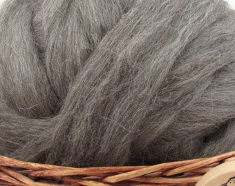 Dark Grey Masham Wool Top Roving - Undyed Spinning & Felting Fiber / 1oz