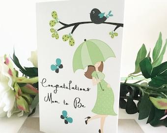 Pregnancy Congrats, Pregnancy Congratulations Card, Baby Shower Card, Happy Pregnancy Card, Handmade Card, Baby Card, Expecting Card, Green