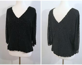Vintage BLACK BEADED TOP/size Medium