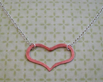 copper hanging heart necklace