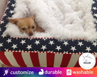 Luxurious Stars and Stripe Dog Bed | Ultra Soft Blanket | Red, White and Blue | Choose Your Fabrics & Size