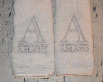 PERSONALIZED Hand Towel Monogrammed Set of 2 - House Warming or Wedding Gift