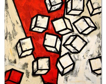 13 White Cubes - Oil Painting by Paola Merazzi