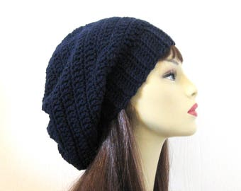 Dark Blue Slouch hat Navy Blue Crochet women's Hat Oversized knit Slouch Hat Navy Blue Slouch Beret Blue Knit oversize Tam Oversize Beanie