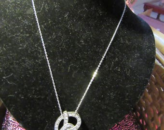 Vintage Sterling Silver & Diamond Chip/Mossianite PRETZEL charm Necklace.